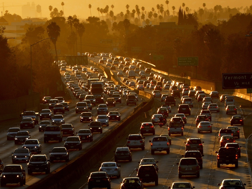 File: Traffic clogs the 101 Freeway in Los Angeles.