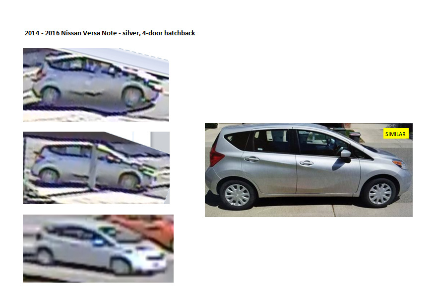 Images of a car that was believed to be used in two attempted kidnappings in Glendale on Wednesday, Aug. 10, 2016, as well as a photo of a similar vehicle.