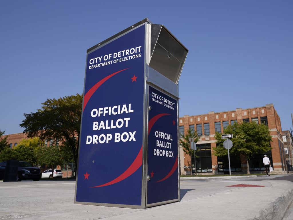 A ballot drop box is shown where voters can drop off absentee ballots instead of using the mail in Detroit.