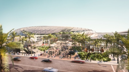 A rendering of the proposed Los Angeles Clippers arena in Inglewood.