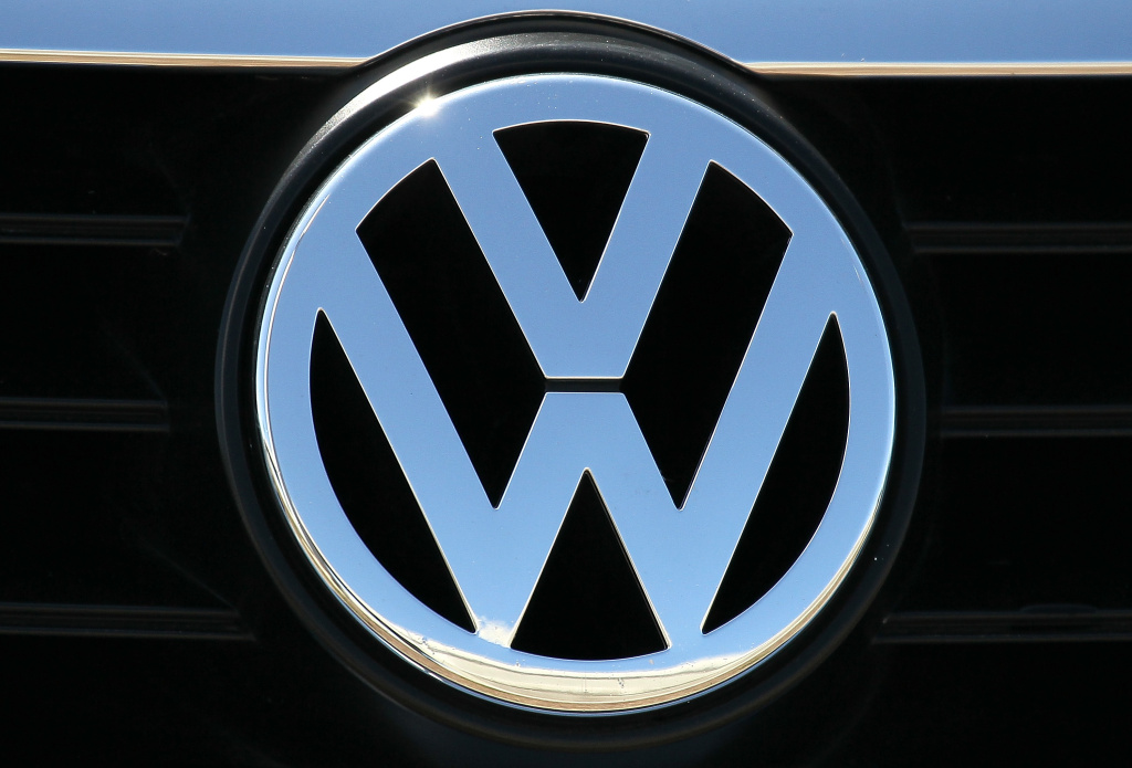 A logo is displayed on the front grill of a brand new Volkswagen car at a Volkswagen dealership on March 28, 2011 in San Rafael, California.