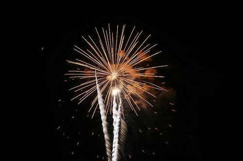 Los Angeles County officials said Wednesday there is a ban on use of fireworks in the Santa Monica Mountains during the Fourth of July holiday weekend.  (Photo: Fireworks are set off in Burbank on July 4, 2008.)