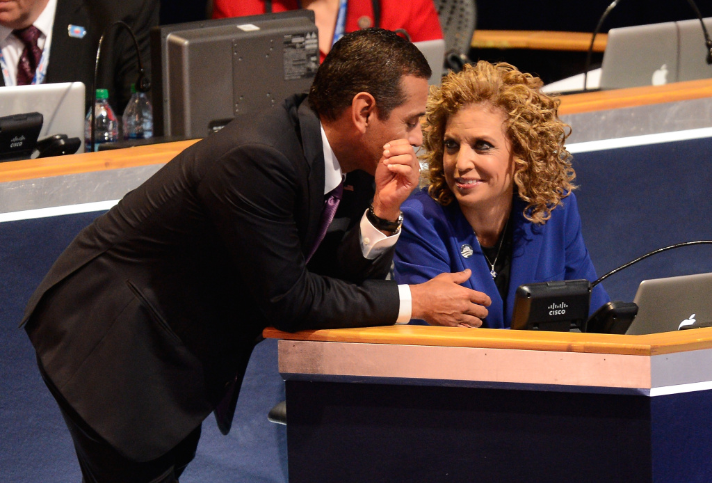 DNC Chair Los Angeles Mayor Antonio Villaraigosa talks with Democratic National Committee Chair, U.S. Rep. Debbie Wasserman Schultz (D-FL) during the final day of the Democratic National Convention at Time Warner Cable Arena on September 6, 2012 in Charlotte, North Carolina.