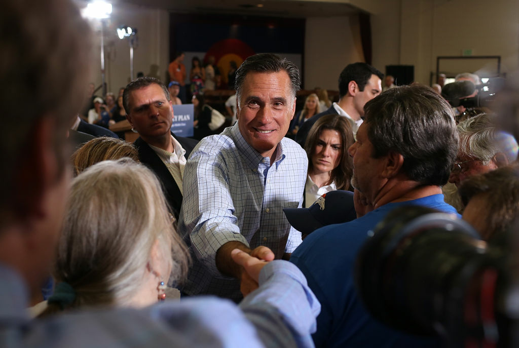 Republican presidential candidate and former Massachusetts Gov. Mitt Romney greets supporters during a campaign event at the Jefferson County Fairgrounds on August 2, 2012 in Golden, Colorado.