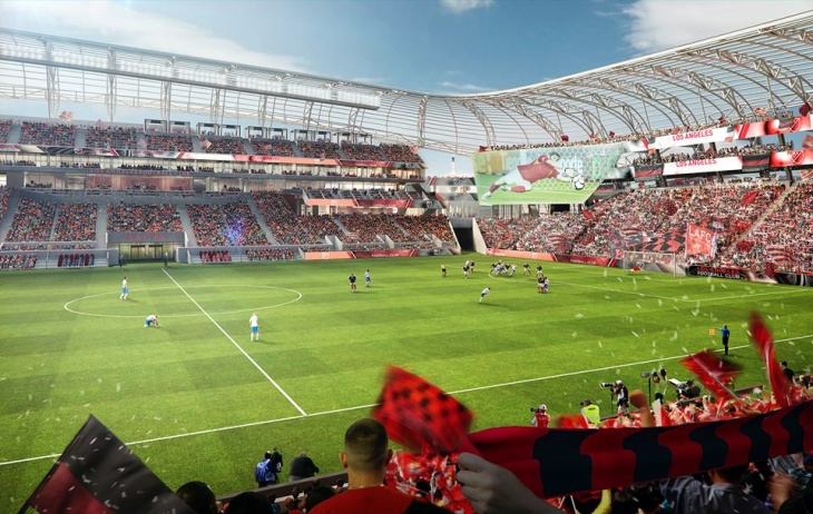 Artist rendering showing aerial view of Los Angeles Football Club stadium on site of the former Los Angeles Sports Arena.