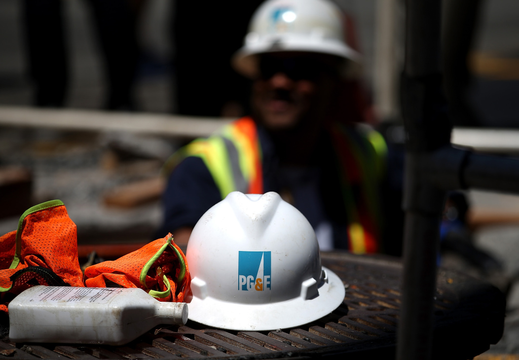 A hard hat sits on the ground at a Pacific Gas and Electric (PG&E) work site on July 30, 2014 in San Francisco, California.