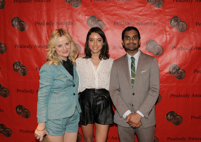 "Amy Poehler, Aubrey Plaza, and Aziz Ansari of NBC's ""Parks and Recreation"" at the 2012 Peabody Awards, Waldorf-Astoria Hotel, New York, May 21, 2012"