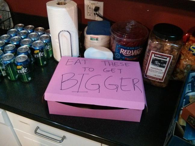 Large pink doughnut box.