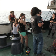 When the sun sets, the crew of the M/V Sam Simon takes to the deck to relax. The crew volunteers come from countries including France, Germany, Australia, the U.K. and Poland.