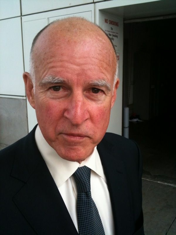 State Attorney General Jerry Brown, 71, outside the Los Angeles Convention Center.