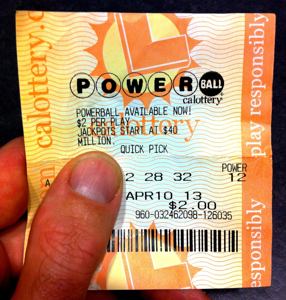 A Powerball ticket purchased in April 2013 in Cypress Park on the first day of the lottery's arrival in California.