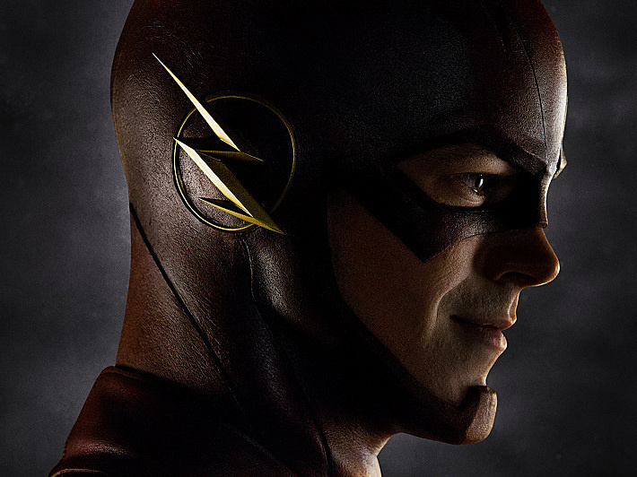 After being struck by lightning, Barry Allen (Grant Gustin) realizes he's gained super speed and takes on the persona of the Flash.