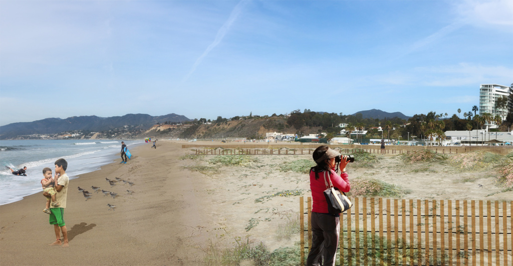 An artist's rendering of what the Santa Monica Beach Restoration Project could look like
