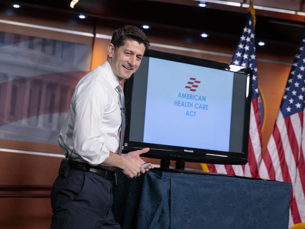 House Speaker Paul Ryan uses charts and graphs to make his case for the GOP's plan to repeal and replace the Affordable Care Act on March 9, 2017.
