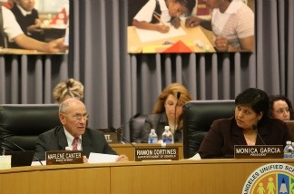Superintendent of Schools Ramon Cortines and other members of the Los Angeles Unified School District Board of Education meet to discuss a proposal to eliminate thousands of jobs in hopes of closing a $718 million budget gap April 14, 2009 in Los Angeles, California. Budget woes still continue to challenge the district.