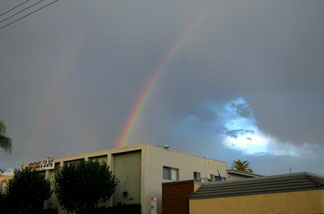 Double rainbow over Los Angeles! What does it mean?