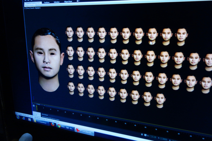 In their effort to make their animations seem more realistic, the Next Media team models various facial expressions they will use in a piece. These are models of singer Leslie Cheung.