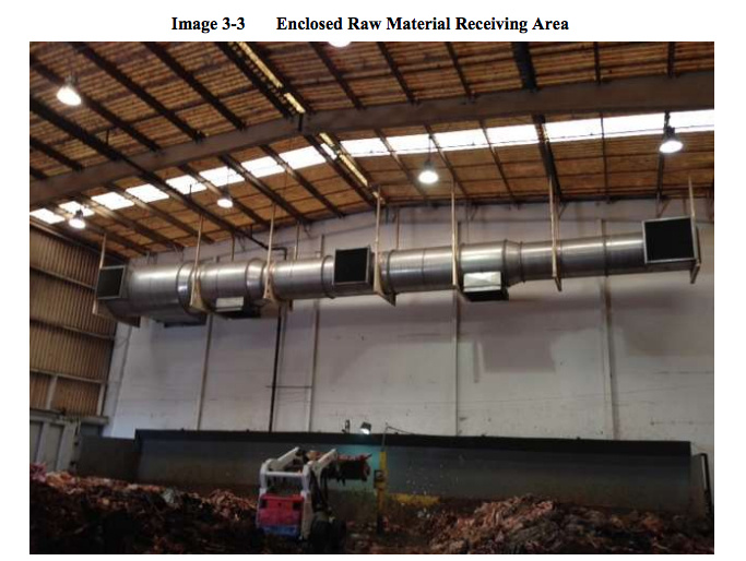 Example of an enclosed raw material receiving area.