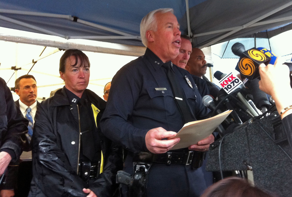 LAPD Deputy Chief Pat Gannon at a Friday, April 13, 2012 news conference on the murders of two USC graduate students.