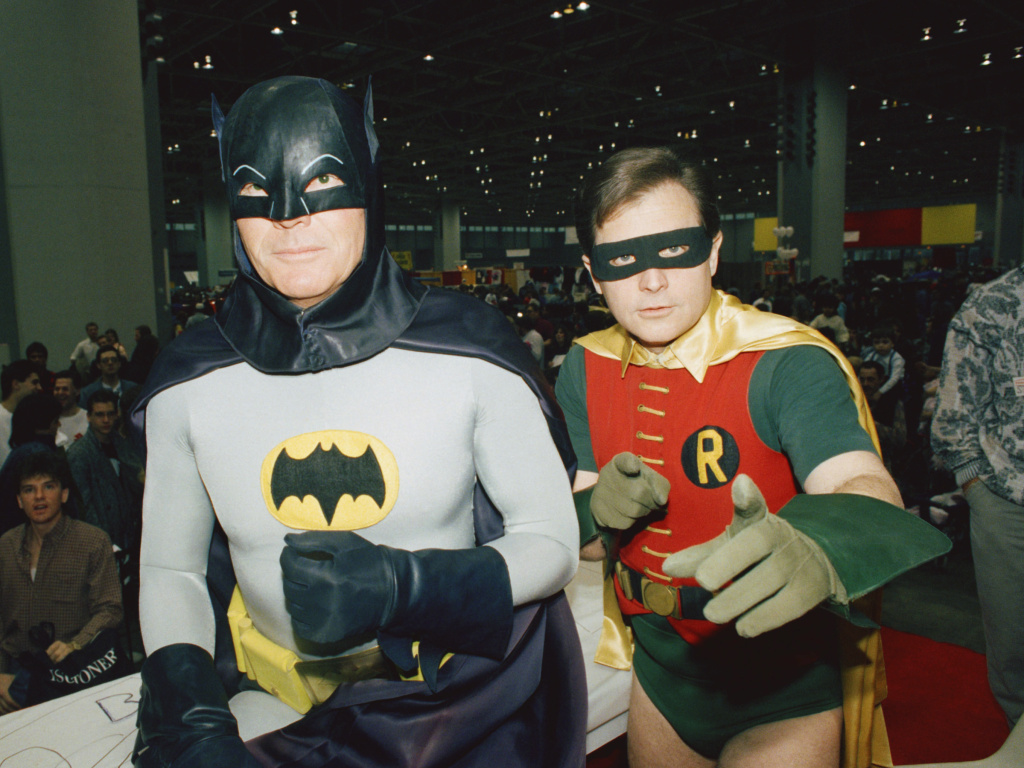 Actors Adam West (L)and Burt Ward dressed as their characters (Zappp!)
