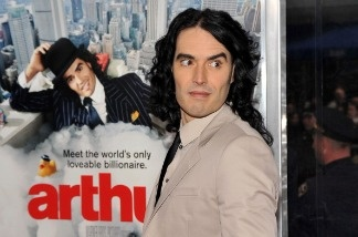 Actor Russell Brand attends the New York premiere of Arthur.