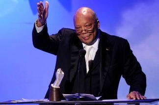 Producer Quincy Jones accepts the Humanitarian Award at the 32nd Anniversary Carousel of Hope Gala at the Beverly Hilton Hotel in Beverly Hills, California.