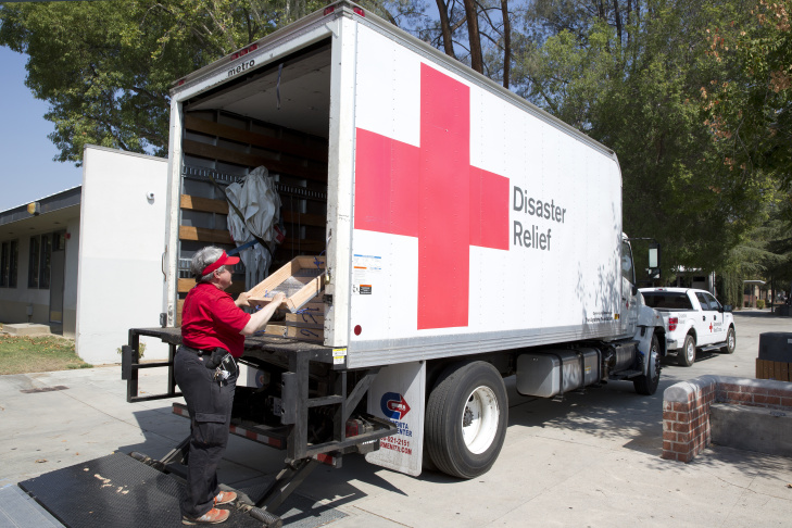 Saul Douglas Roe a logistics vounteer with the American Red Cross constructs a sifter at the  temporary shelter set up in the Hart High School in Santa Clarita on July 29th 2016.