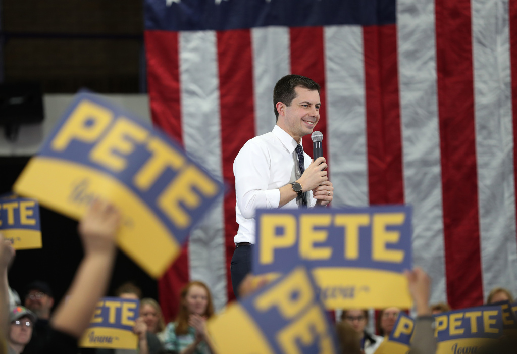 Former South Bend, Ind. Mayor Pete Buttigieg speaks during a campaign event on Feb. 1 in Dubuque, Iowa, ahead of the caucuses.