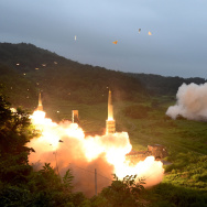 U.S. Army Tactical Missile System (ATACMS) and South Korea's missile system firing Hyunmu-2  firing a missile into the East Sea during a South Korea-U.S. joint missile drill aimed to counter North Korea's ICBM test on July 29, 2017 in East Coast, South Korea.