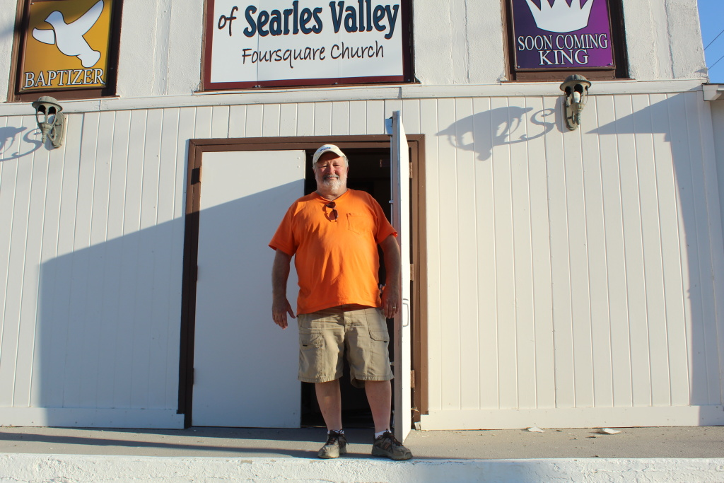 Pastor John Goebel outside of Trona Foursquare Church, which was damaged in July 5's magintude 7.1 quake.