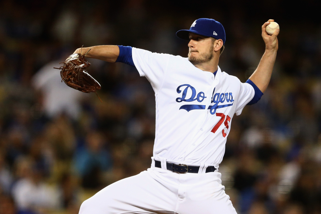 Grant Dayton #75 of the Los Angeles Dodgers pitches during the fifth inning of a game against the Arizona Diamondbacks  at Dodger Stadium on April 17, 2017 in Los Angeles, California.
