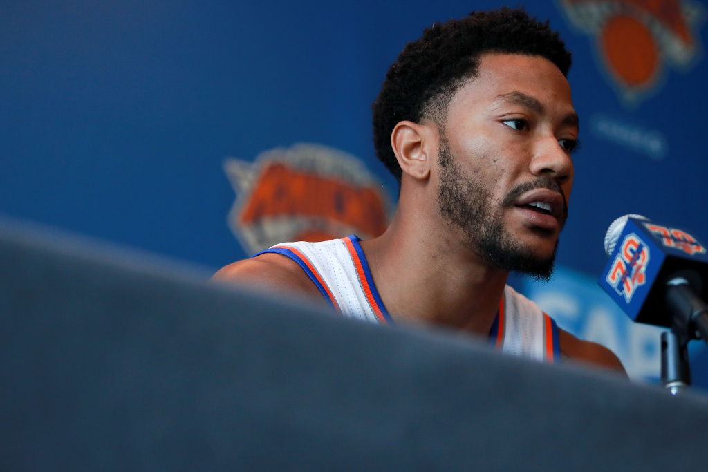 Derrick Rose #25 of the New York Knicks addresses the media during the New York Knicks Media Day at the Ritz Carlton on September 26, 2016 in White Plains, New York.