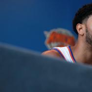 Derrick Rose #25 of the New York Knicks addresses the media during the New York Knicks Media Day at the Ritz Carlton on September 26, 2016 in White Plains, New York.