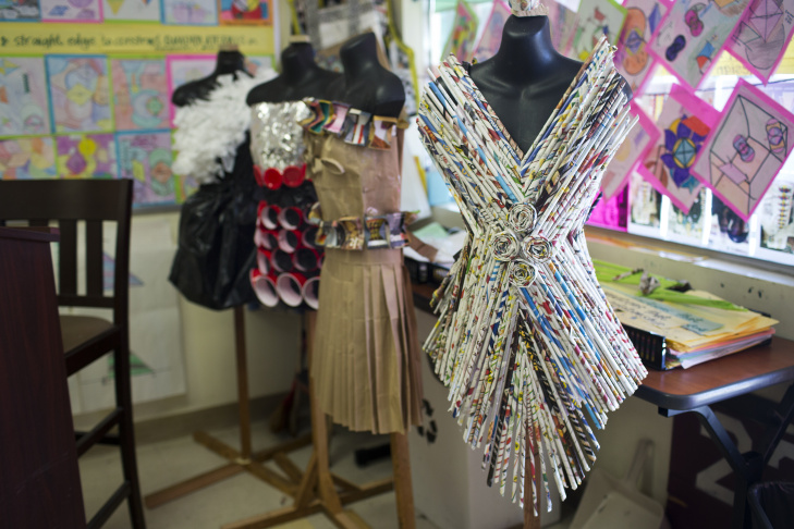 Geometry students at Hawthorne High School were challenged to design and make a dress using their knowledge of geometry. The dresses were worn during a fashion show in May.
