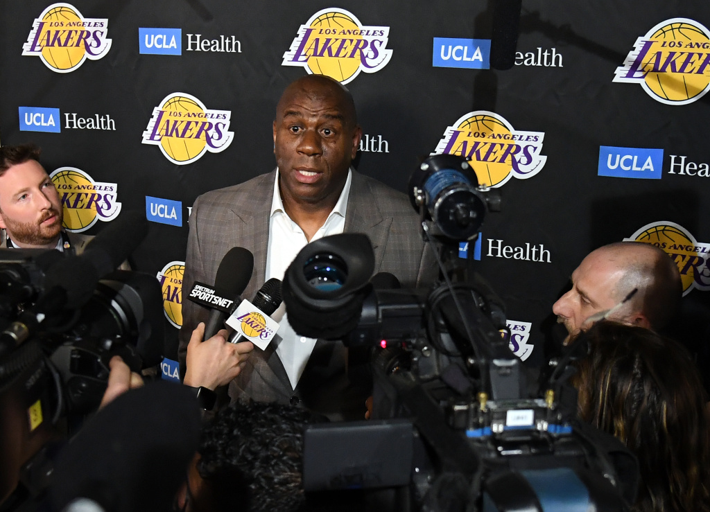 Magic Johnson reacts as he speaks to the press resigning as Los Angeles Lakers President of Basketball Operations before the game against the Portland Trail Blazers at Staples Center on April 09, 2019 in Los Angeles, California