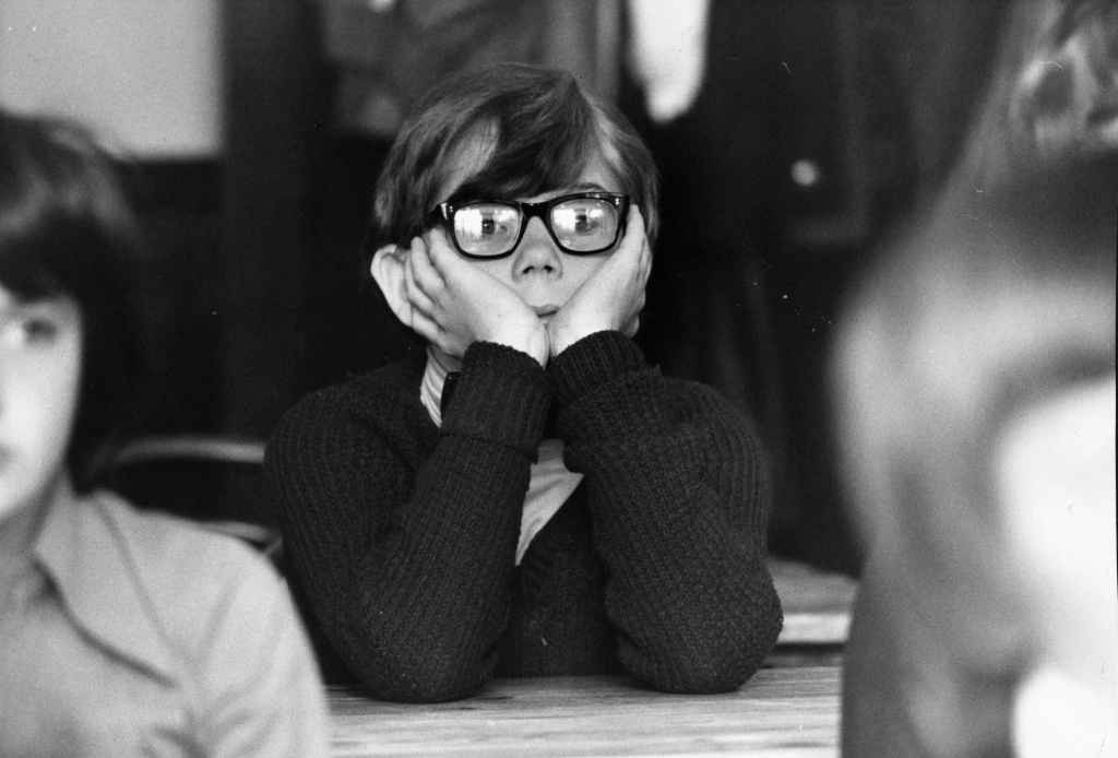 A pupil sitting in a classroom at Enfield School, London on Sept. 6, 1978.