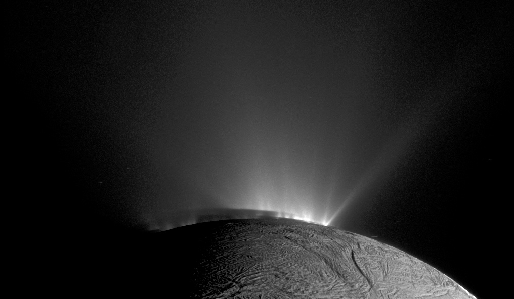 The Cassini space probe took this image of geysers on the Saturn moon Enceladus shooting 50 miles into space.