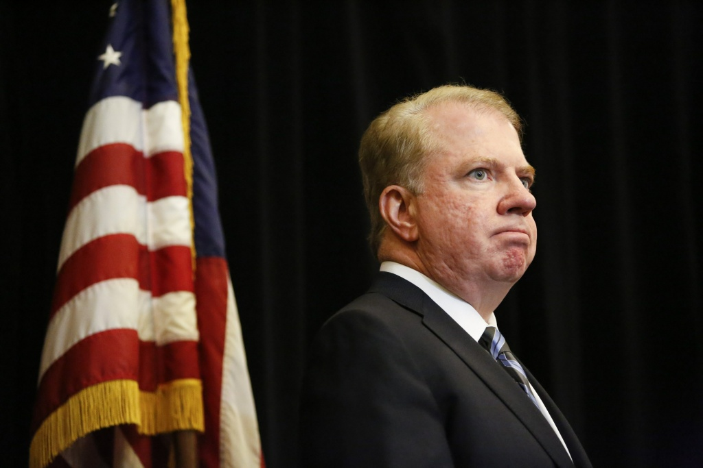 Seattle Mayor Ed Murray during a press conference at North Seattle Community College a day after four international students died in a bus crash in Seattle, Washington on September 25, 2015.