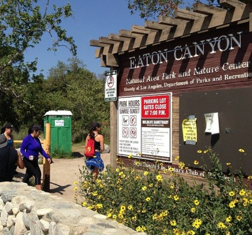 The entrance to the popular Eaton Canyon Park in Altadena. A 17-year-old high school student died in a fall on May 22.