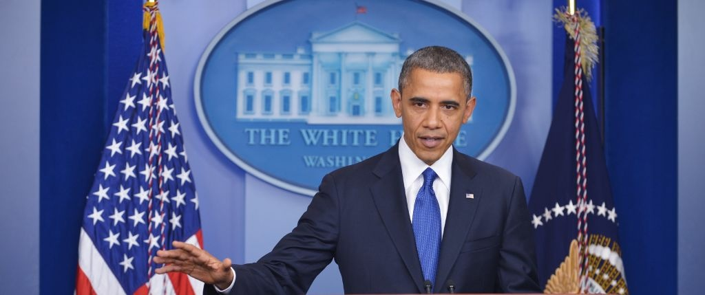 US President Barack Obama speaks on the fiscal cliff during a previously unannounced appearance in the Brady Briefing Room of the White House in Washington, DC.