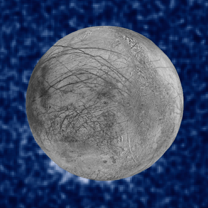 This composite image shows suspected plumes of water vapor erupting at the 7 o'clock position off the limb of Jupiter's moon Europa. The plumes, photographed by NASA's Hubble's Space Telescope Imaging Spectrograph, were seen in silhouette as the moon passed in front of Jupiter. Hubble's ultraviolet sensitivity allowed for the features, rising over 100 miles above Europa's icy surface, to be discerned. The water is believed to come from a subsurface ocean on Europa. The Hubble data were taken on January 26, 2014. The image of Europa, superimposed on the Hubble data, is assembled from data from the Galileo and Voyager missions.