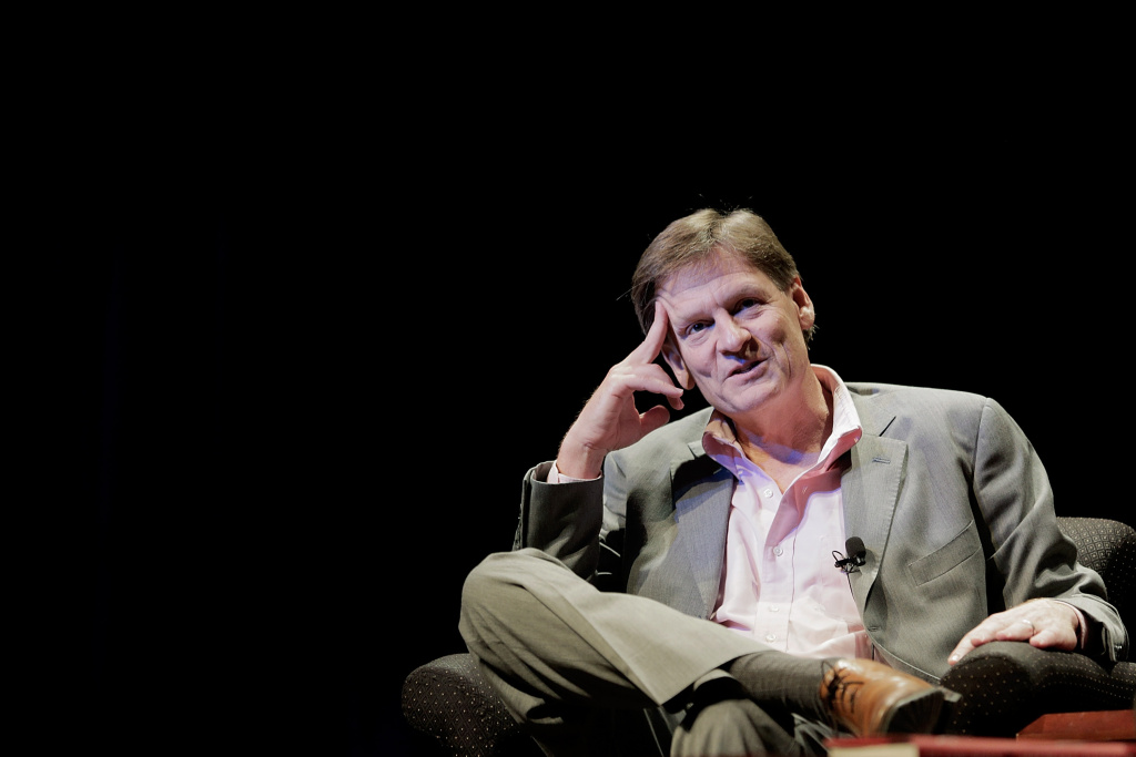 Michael Lewis, a financial journalist and author, participates in a discussion in the Newsmaker Series of talks at George Washington University on April 4, 2014 in Washington, DC.