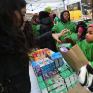 Girl Scouts Sell Cookies From Street Trucks In New York City