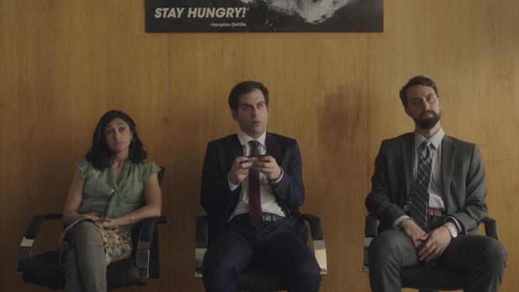(L-R) Matt Ingebretson, Aparna Nancherla and Jake Weisman in the Comedy Central series,