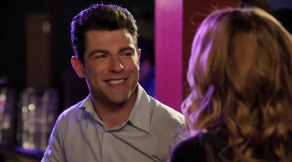 New Girl's Schmidt does his best impression of a Romney son.
