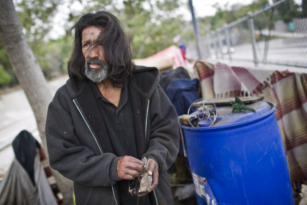 Jesus Torres has lived in the Arroyo Seco riverbed for almost three years.