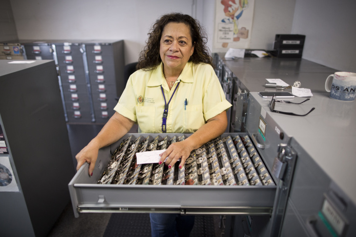 Loretta Galvan is a senior meter reader for the Los Angeles Department of Water and Power. Galvan works out of the Metropolitan district office, where tens of thousands of residents' keys are stored for access to their meters.