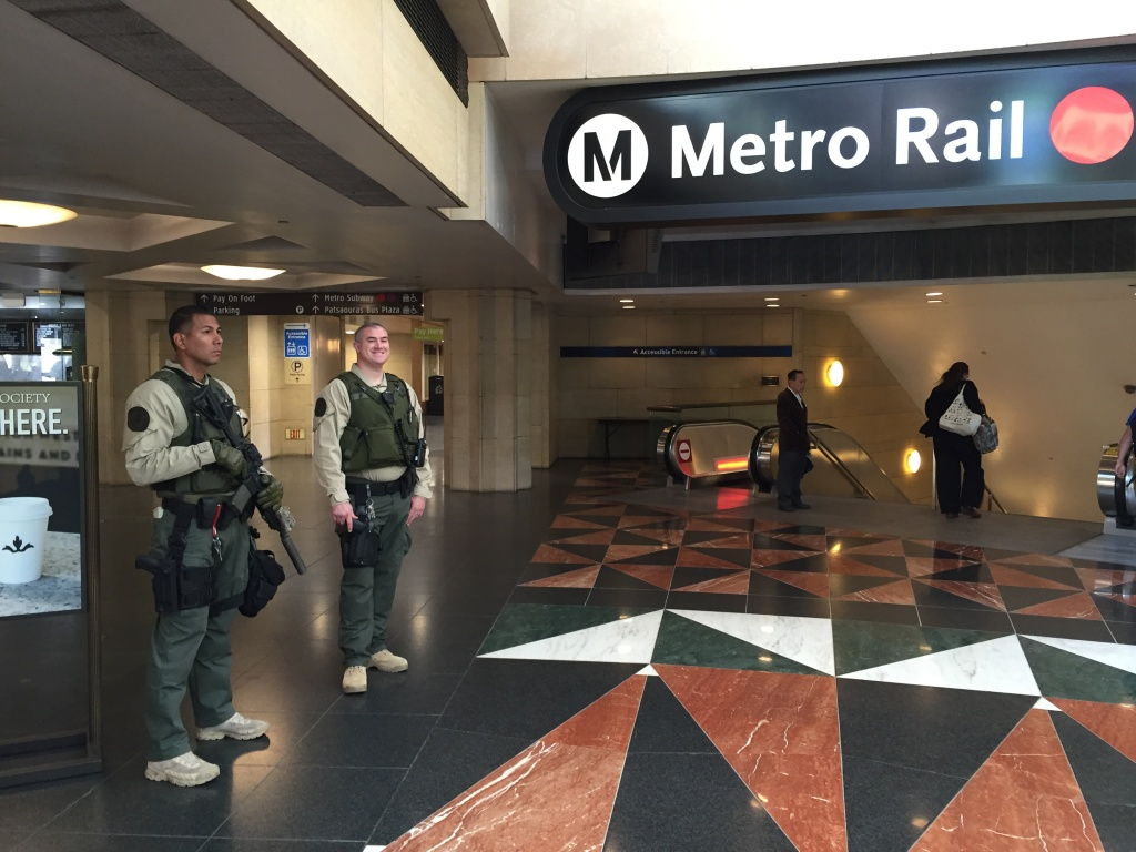 FILE: Metro increased security at L.A.'s Union Station after the April 2016 terrorist attacks in Brussels, where the airport and a subway station were targeted.