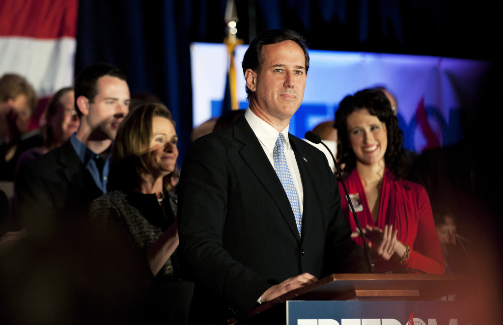 MARS, PA - APRIL 3: Republican presidential candidate, former U.S. Sen. Rick Santorum speaks at a campaign rally at Four Seasons Sheraton on April 3, 2012 in Mars, Pennsylvania.