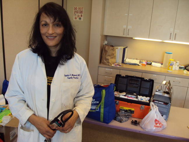 Dr. Sophia Momand with the makeshift mobile kit she brings with her to treat the homeless.